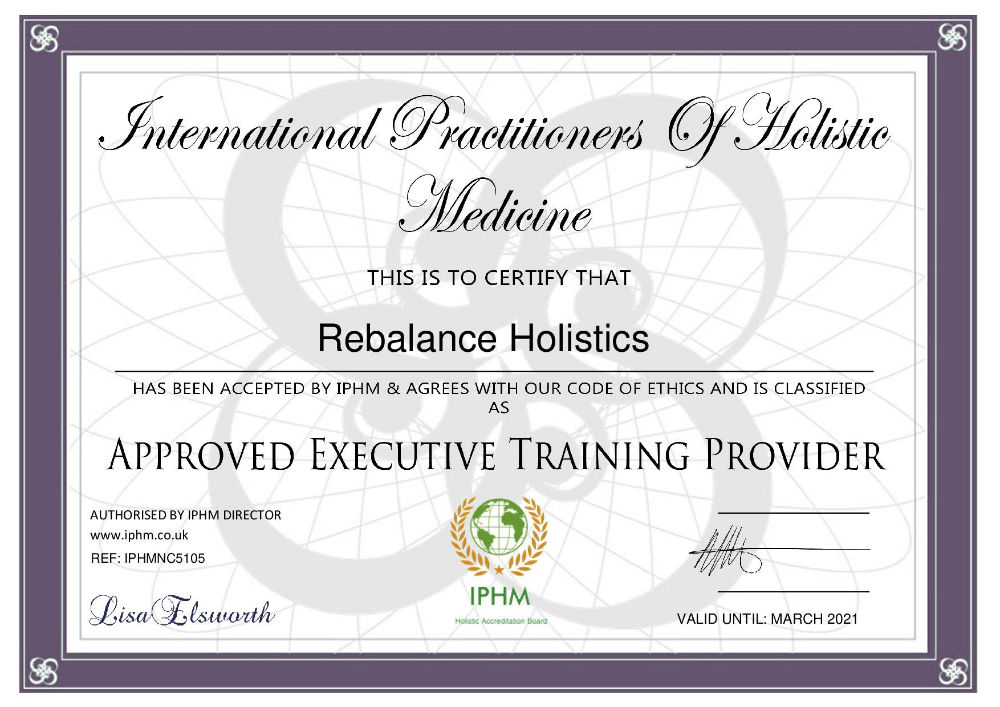 Rebalance Holistics Keighley - Sharon Anne Thomas IPHM Certificate